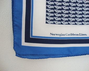 Norwegian Caribbean Lines Scarf square scarf White scarf Blue scarf Nautical scarf Large square scarf Souvenir scarf navy blue scarf Cruise