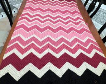 Vintage Afghan Chevron Zig Zag Blanket Throw Pink Black Beige
