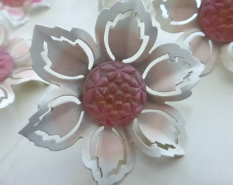 Vintage Metal and Glass Cream and Pink Push Pin Tie Back
