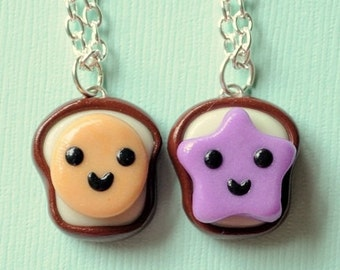 Best Friend Necklaces Peanut Butter and Jelly Toast Bread Charms Miniature Food Jewelry Glow in the Dark