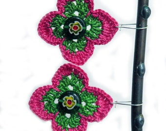 Pink and Green Diamond Flower Earrings. Cotton, Lightweight on Sterling Silver.