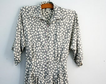 vintage 80s I See Shapes When I Argue Geometric Print Drop Waist Gray Ladies Polyester Dress