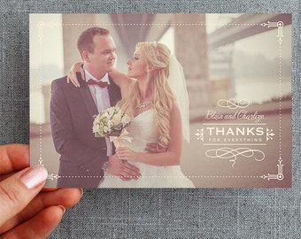 "Digital File, Wedding Thank you Postcard Vintage, ""Charlize Style"""