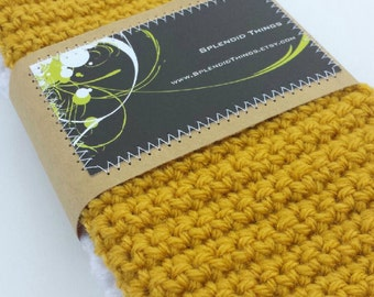 Mustard and White Set of 2 Crocheted Dish Cloths