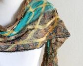 Nuno Felted Silk Scarf -  Beige, Aqua, Black Floral