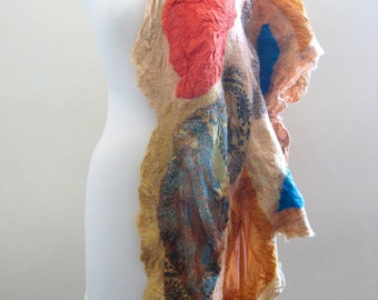 Nuno Felted  Silk Scarf Mustard, Rust, Turquoise, Brown