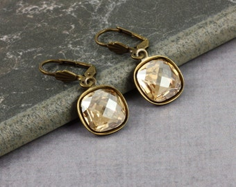 Wedding Earrings Champagne Gold Crystal Earrings Old Fashioned Earrings Drop Earrings Bridal Jewelry Simple Dangle Earrings Fashion Jewelry