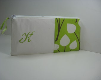 Embroidered Clutch, Personalized, Initial, Green with  White Pods,Pouch, Bridesmaid Clutch, Made To Order