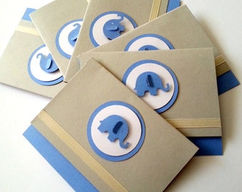 6 Blue Elephant Baby Boy Shower Thank You Cards, Happy Birthday Thank you Cards, Baby Boy Congratulations card, Thank you cards