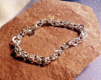 Sterling Silver Byzantine Weave Bracelet 8 1/8 Inches in Length