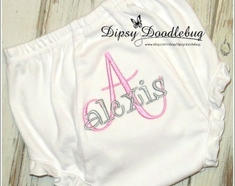 Monogrammed Ruffled Knit Baby Bloomers Diaper Covers for  Infant and Toddler Girls