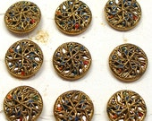 20s Twinkle BUTTONS, 11 metal with star design, unused on original card.