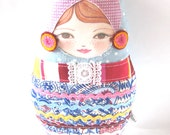 Matryoshka, Folk Doll  Collectible Doll Cloth Doll Amelia-Jane