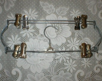 Tiered Metal Hanger Pant Skirt Clothes Folding Rack Vintage 4 Tier