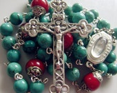 Details about  Natural Turquoise & Coral beads Lourdes Water Rosary Cross crucifix Necklace