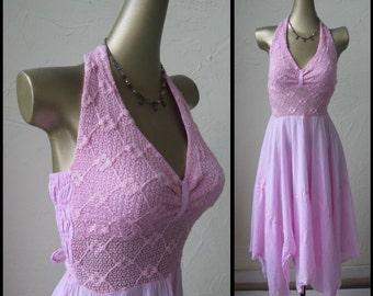 Vintage 70s Pink Bohemian Cotton Halter Dress...Size S/M