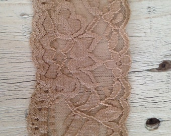 New WIDE Stretch Lace LATTE no. 399-2 inch -2 yards and 5 yards