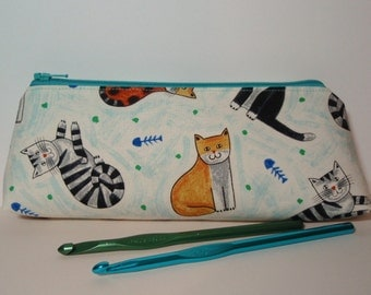 Cats and Kitties - Small Cotton Zipper Cosmetic Pencil Crochet Hooks Pouch