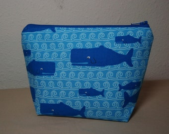 Blue Whales - Zipper Cosmetic Pouch