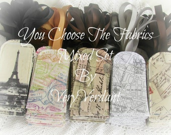 10 Luggage Tags - You Choose The Fabrics - Mixed Set - Travel Theme -