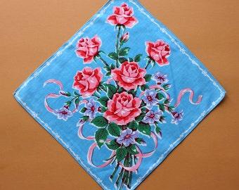 Vintage Handkerchief with Floral Bouquet Design