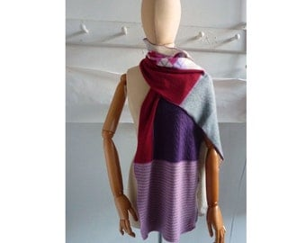 recycled cashmere scarf in Raspberry Lavender purple  argyle shawl wrap 112
