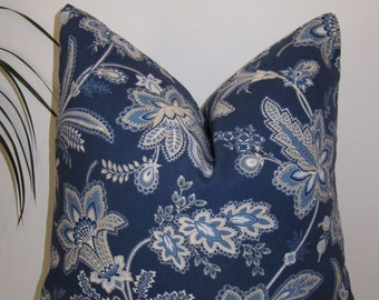 "Paisley Indigo Blue Pillow Cover 18""x18"""