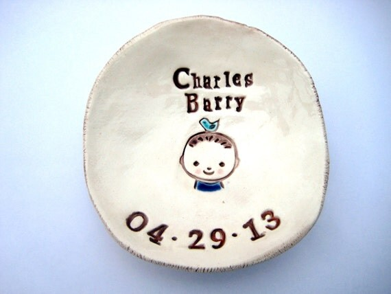 Baby with Blue Bird Dish  Personalized with Name and Birthdate