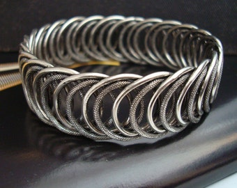 Bracelet Bangle, Lovely and Unique, Solid, Textured Rings Metal Bonded Together For Quality, Thick Quality Sterling Silver Custom Plate, USA