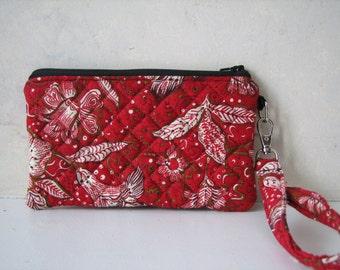 Handmade Wristlet Clutch Purse, Red Floral