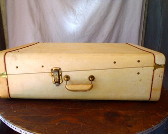 Vintage 1920s Horn Vachetta Natural Leather Wardrobe Suitcase