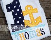 Anchors Aweigh Nautical Birthday Shirt - Navy and Yellow