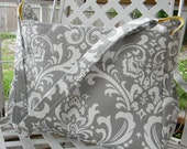 Gray and White Damask  Diaper Bag  with Top Zipper Closure Unisex Boy or Girls Diaper Bag