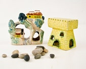 Vintage Aquarium Decor - Tiny Houses - Bridge - Castle - Water Wheel