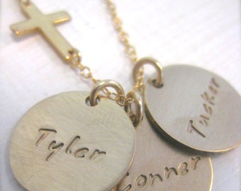 Gold Mommy Necklace with Sideways Cross - hand stamped 14k gold filled personalized disc charms
