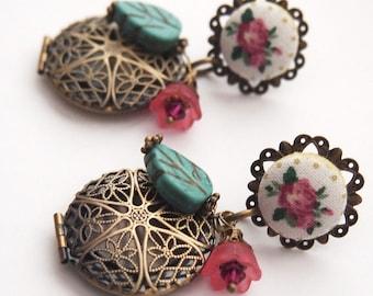 Roses in the Garden Locket Dangle Studs -  Earrings Shabby Chic