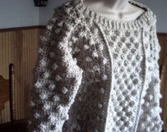 Celtic  Irish Fisherman Jumper  Cropped  bateau Top Sweater dropped sleeve