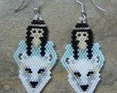 White Wolf With Maiden Earrings Hand Made Seed Beaded Native Inspired