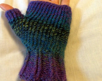 Purple Green Blue Fingerless Glove, Fingerless Mittens S/M
