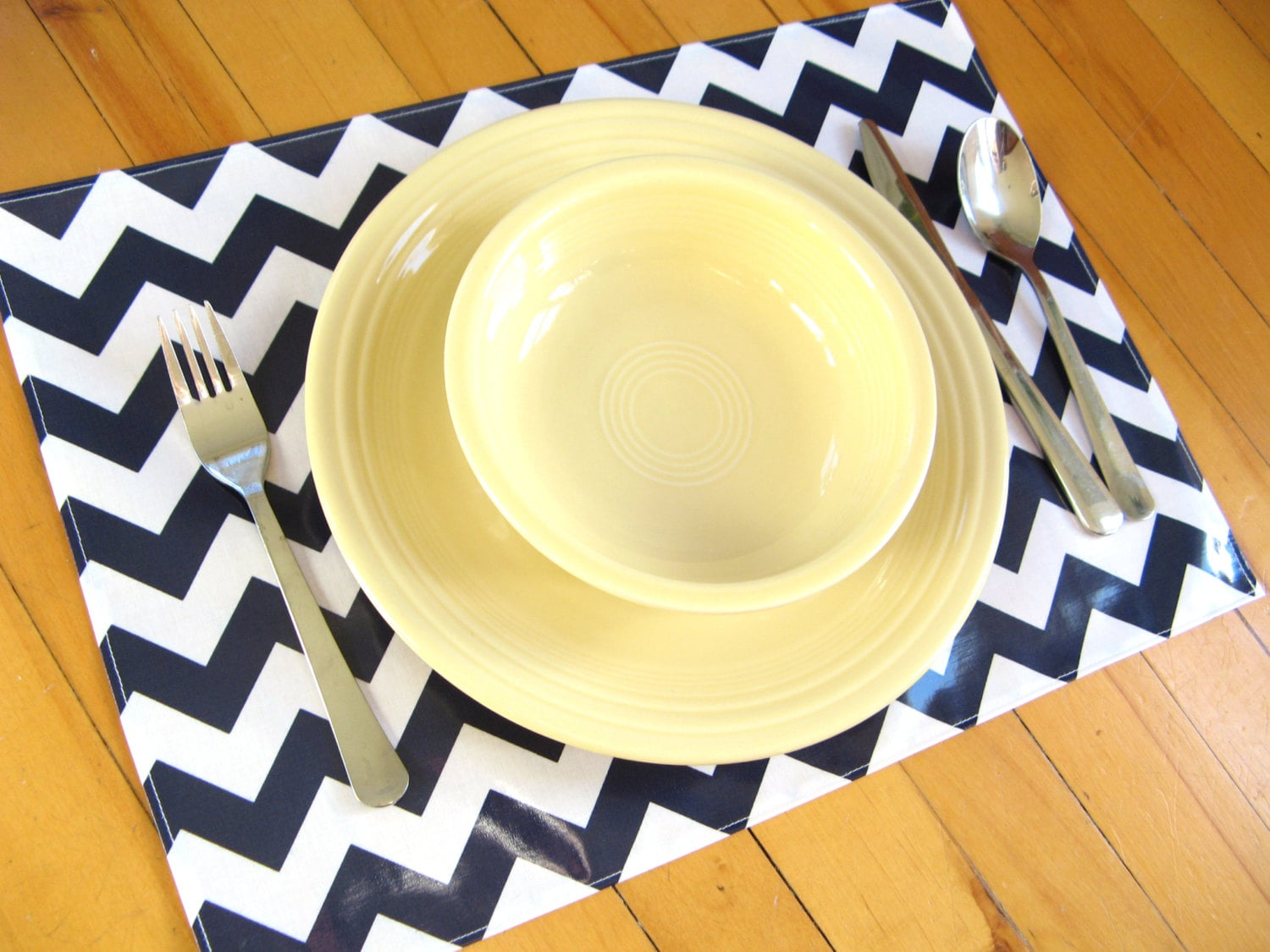 Navy Wipe Clean Placemats Lightweight Vinyl Chevrons