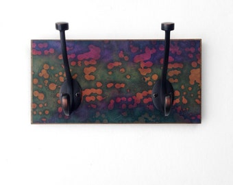 Batik Wall Coat Rack, Handmade Paper, Abstract Coat Hook, Colorful, Masculine Home Wall Decor Colorful  Reclaimed Wood, Tiny Home Storage