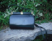 Vintage COBLENTZ Original Over the Shoulder Black Leather Purse or Handbag / Removable Strap