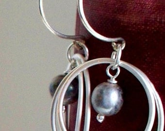 Go Go Pearls and Silver on Handcrafted Sterling Silver Earrings