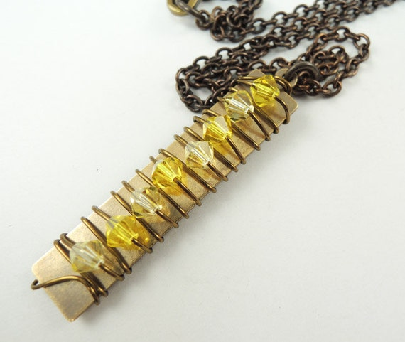 Crystal Pillar Necklace in Yellows, Wire Wrapped polished brass rectangle