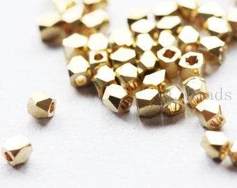 50pcs Raw Brass Spacers - Faceted Round 2.5mm (495C-S-225)