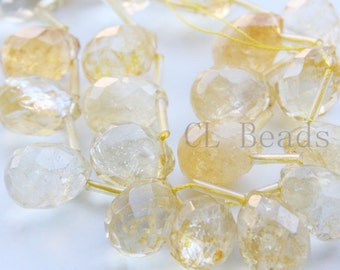 One Strand (15 Inches) Natural Hand Cut Citrine Stone - Faceted Teardrop 18.7x14.3mm (13)