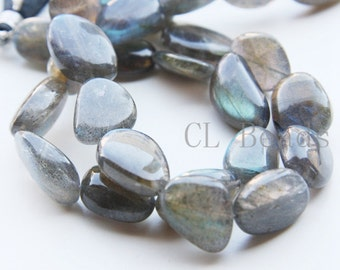 One Strand (8.5 Inches) Natural Hand Cut Labradorite Stone - Irregular 15.3x13mm (19)