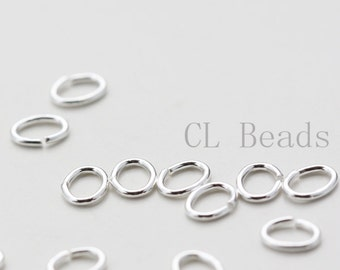 20pcs OPENED Sterling Silver Oval Jump Rings - 5x4mm (21 Gauge)