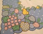 Vintage Applique Quilt Fruit Tablecloth