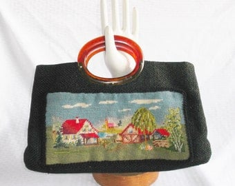 Clearance 1960's Vintage Needlework Farm Scene Purse with Lucite Handle